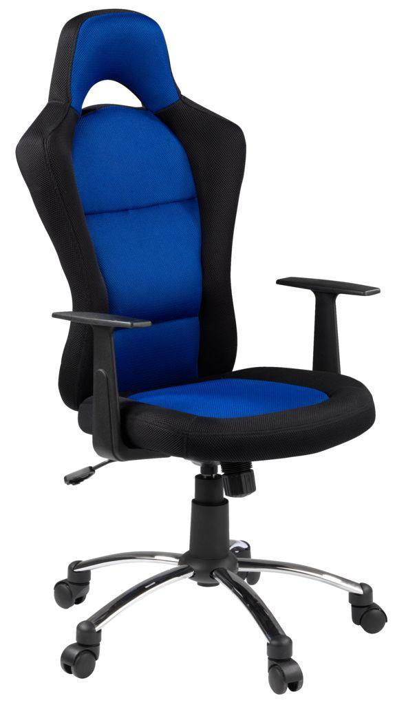 Кресло офисное черное с синим
