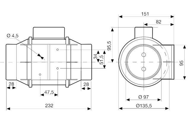 размер вентилятора Soler & Palau TD-160/100 N SILENT