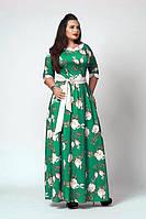 Длинное в пол платье с цветами большой 52-54-56-58 размер