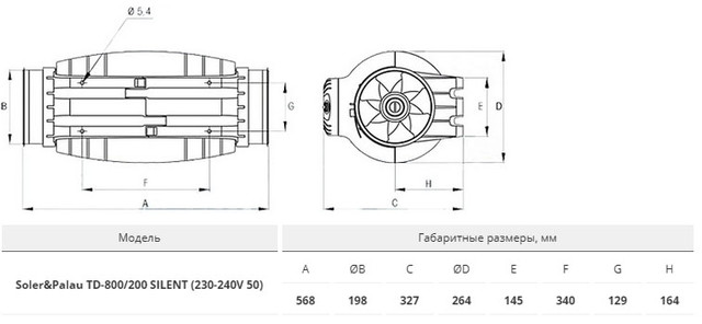 размер вентилятора Soler&Palau TD-800/200 SILENT