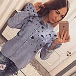 Женская стильная хлопковая рубашка в полоску с вышивкой, фото 2