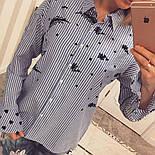 Женская стильная хлопковая рубашка в полоску с вышивкой, фото 3