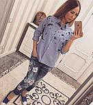 Женская стильная хлопковая рубашка в полоску с вышивкой, фото 4