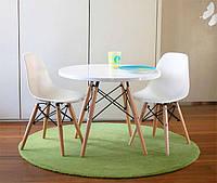 Детский столTavolo xz3 Kidsкруглый, белый,деревянные буковые ножки, дизайн Charles & Ray Eames