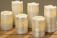 Светодиодная свеча серебристый воск h10d7.5см