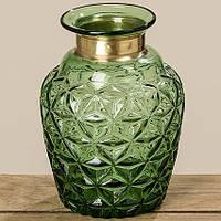 Ваза Stratos зеленое стекло h18см