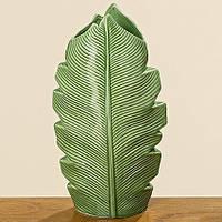 Ваза Джанет зеленая керамика h25см