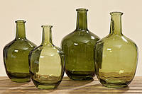 Ваза Trapani зеленое лакированное стекло h25d15см