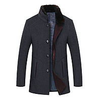 Мужское шерстяное пальто со съемным меховым воротником. Модель 6341