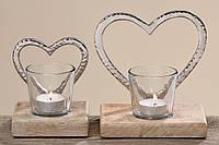 Подсвечник 2х Сердце стекло на деревянной подставке h12см