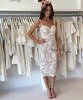 Платье женское ажурное SELF PORTRAIT(реплика) с подкладом nude белое, фото 1