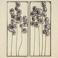 Настенный декор Цветок серебряный металл h100см
