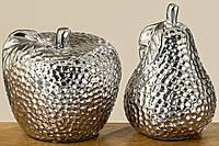 Декоративное изделие Яблоко/Груша керамика серебро h18см