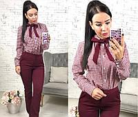 Костюм женский брюки+рубашка в клетку, цвет - марсала