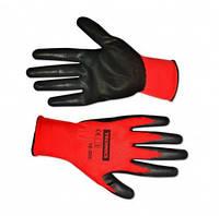 Перчатки нейлон,тонкая вязка,гладкий маслостойкий нитрил,S-M,Technics,16-206,Киев.