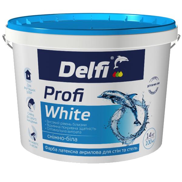"""Краска латексная акриловая для стен и потолков Delfi """"Profi White"""", 14 кг"""
