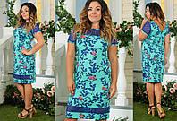 Женское льняное платье с принтом и кружевом