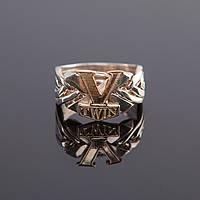 "Мужское кольцо головоломка из серебра и золота ""V-Twin"""