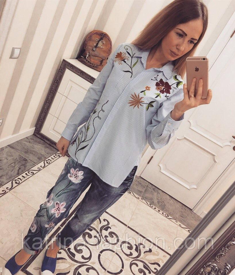 Женская стильная хлопковая рубашка в полоску с вышивкой