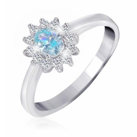 """Серебряное кольцо с имитацией топаза """"375"""""""