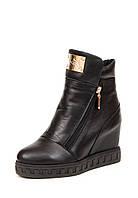 Женские зимние кожаные, замшевые ботинки с молнией с подкладкой из шерсти