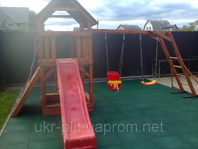 Установка детской  площадки и укладка резиновой плитки в частном дворе
