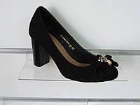 Туфли женские замшевые на устойчивом каблуке, фото 1