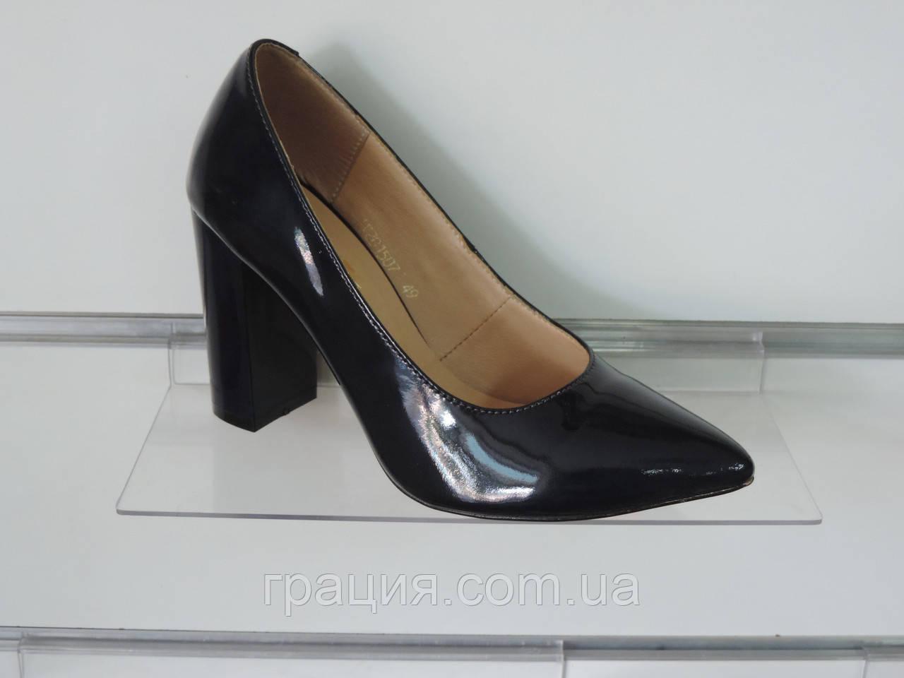 f108017c2a60 Туфли женские лаковые натуральные на каблуке темно-синие  продажа ...