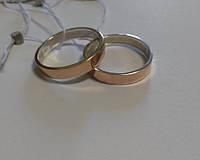 Обручальное кольцо серебро с золотом 419
