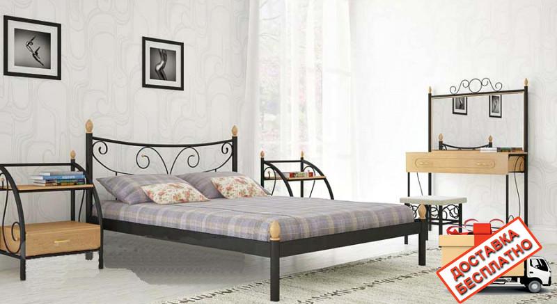 Кровать металлическая кованная Луиза двуспальная, фото 1