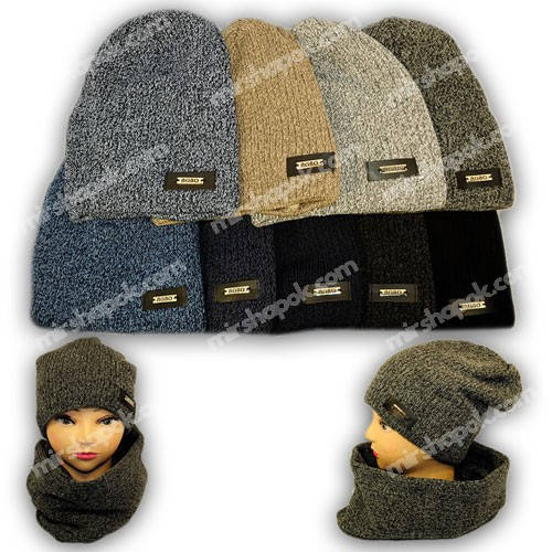 Комплект - шапка и шарф (хомут) для мальчика, Agbo (Польша), подкладка флис, ZORRO -1110