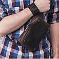 """Сумка мужская кожаная поясная """"DropBag mini"""". Цвет темно-коричневый, фото 6"""