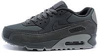 """Женские кроссовки Nike Air Max 90 Premium """"Dark Grey/Wolf Grey"""" (найк аир макс 90) серые"""