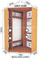 Шкаф купе угловой (2200/1200/1200), 2 двери, фото 1