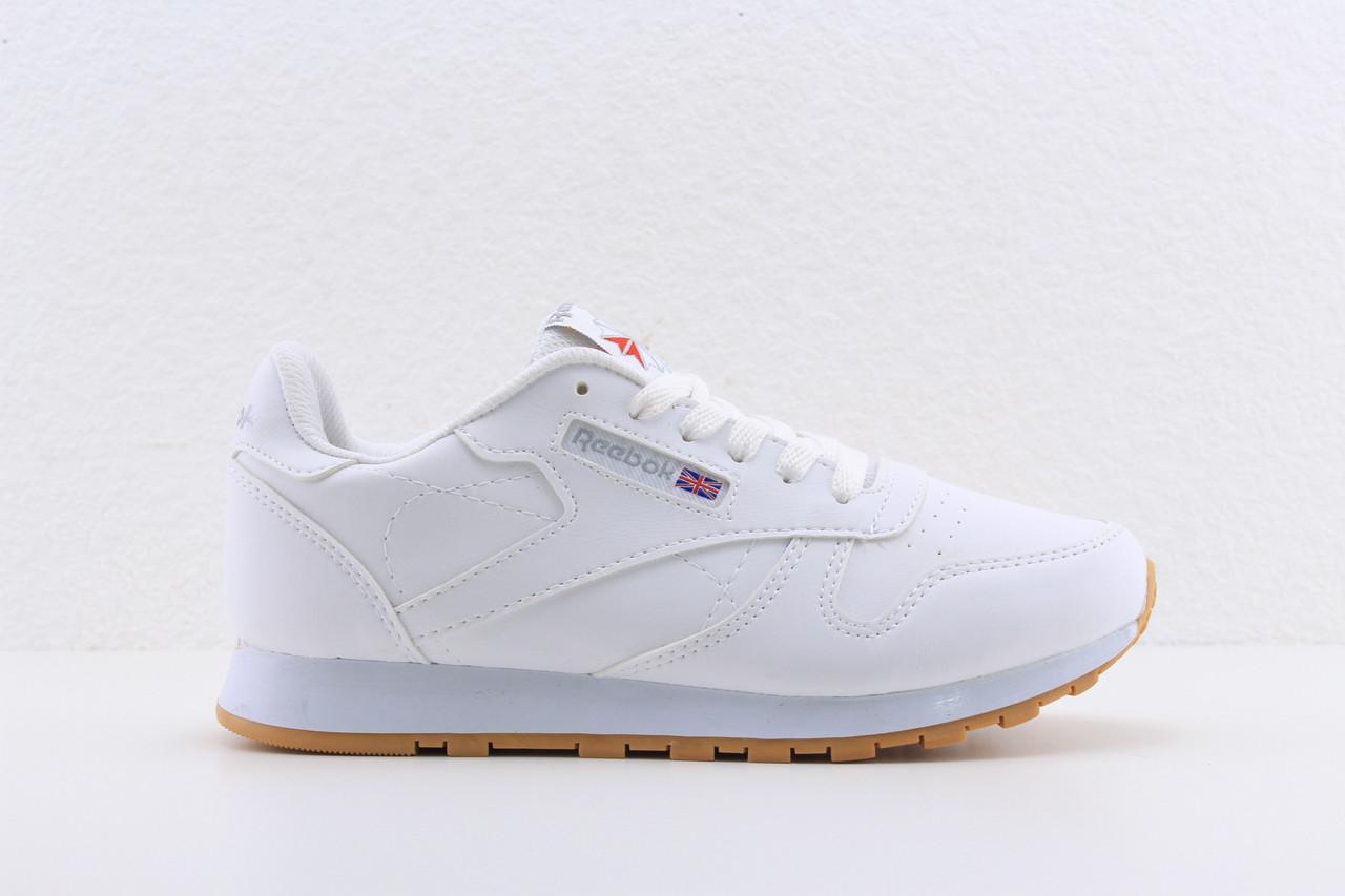 ... Женские белые кожаные кроссовки Reebok classic white, рибок классик  белые реплика, ... eae95872105