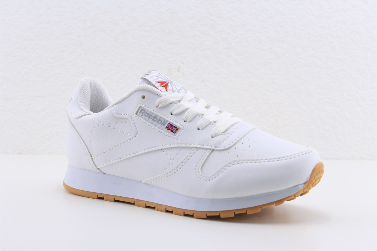 Женские белые кожаные кроссовки Reebok classic white, рибок классик белые  реплика, ... 48a07ce3e28