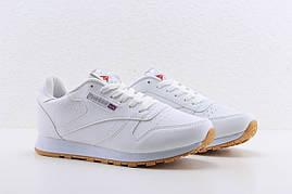 Женские белые кожаные кроссовки Reebok classic white, рибок классик белые реплика
