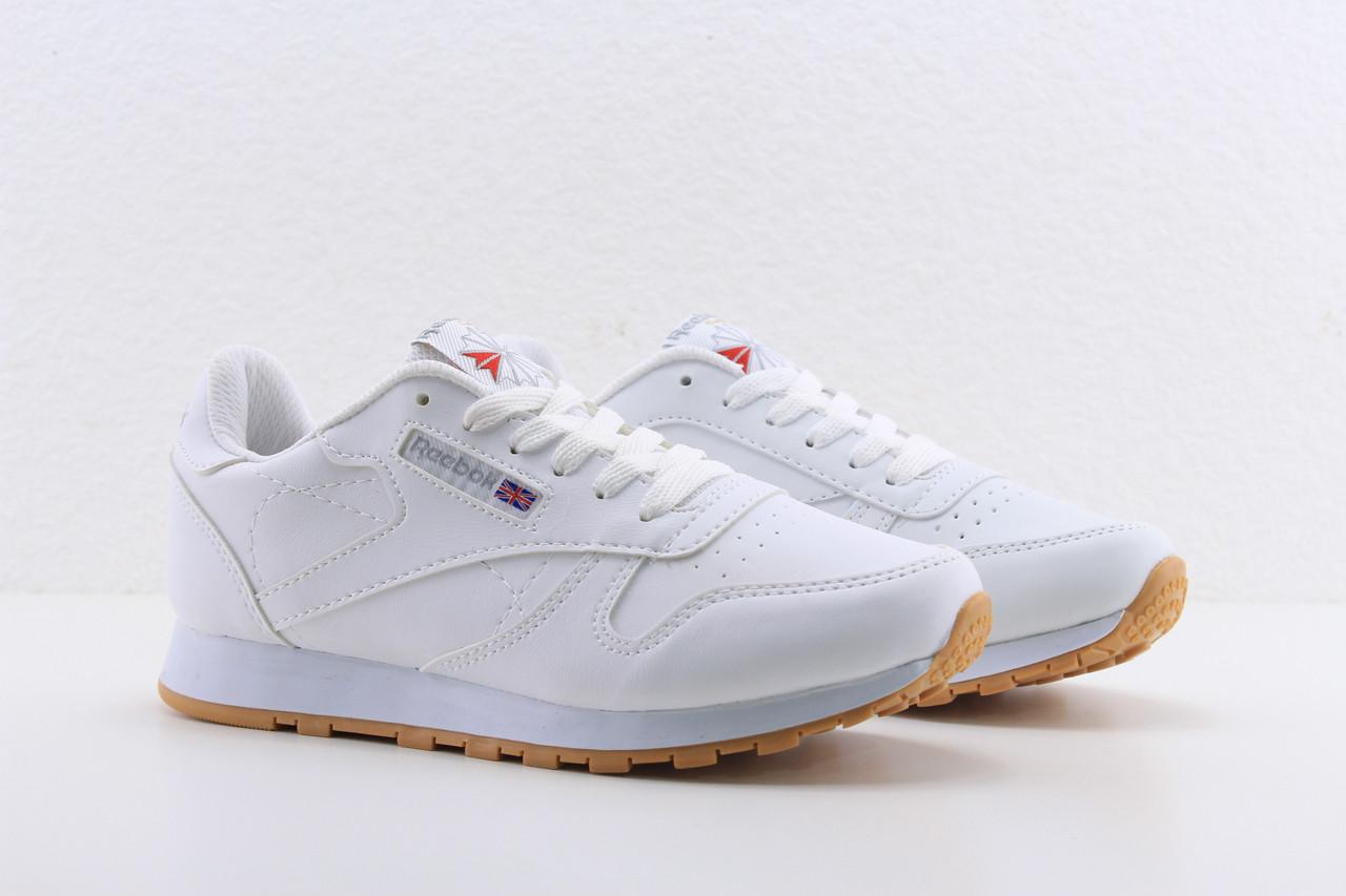 Женские белые кожаные кроссовки Reebok classic white, рибок классик белые реплика, фото 1