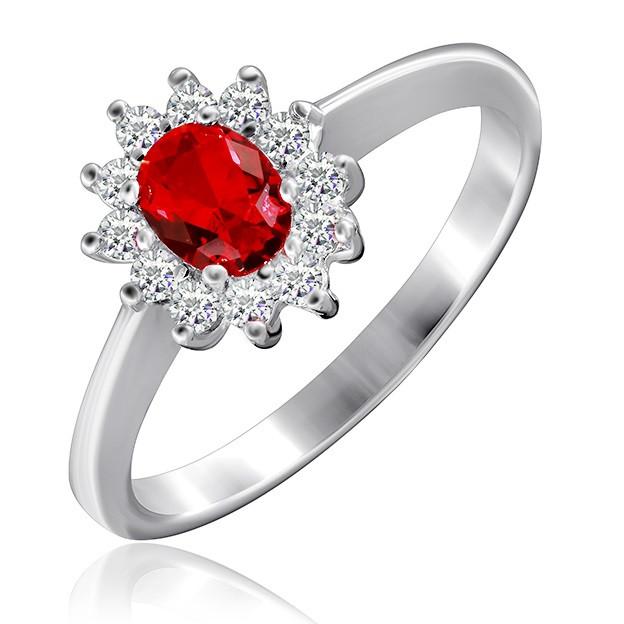 """Серебряное кольцо с имитацией рубина """"375"""""""