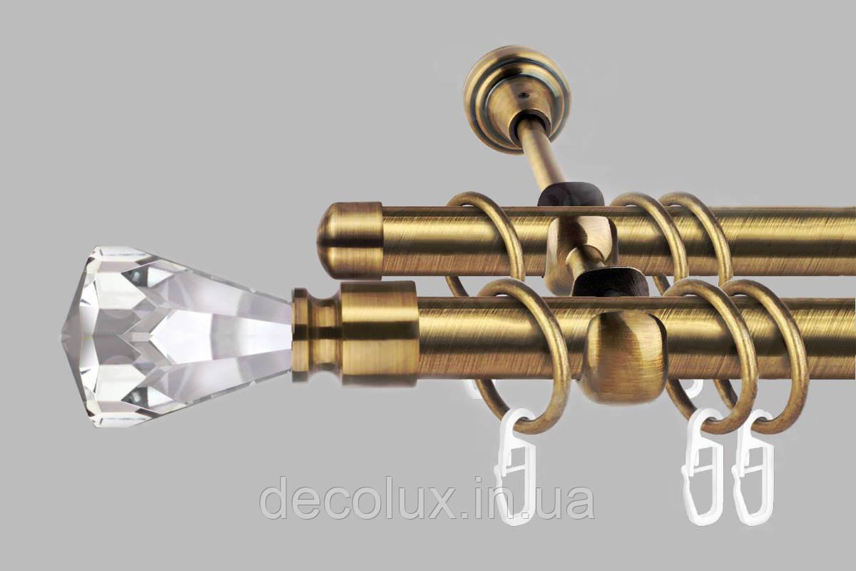 Карниз для штор двухрядный металлический 19 мм, Кристалл (комплект)