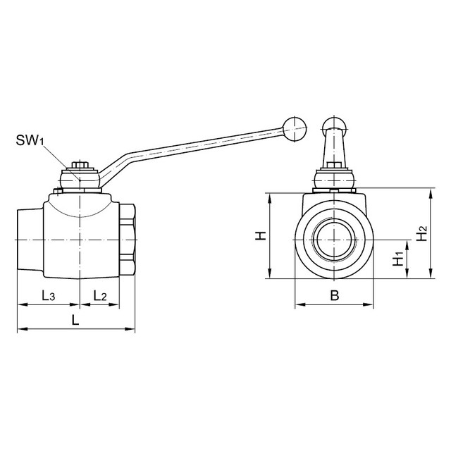 Шаровый кран блочный 2-х ходовой, резьба наружная метрическая