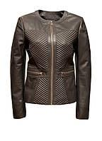 Куртка кожаная Carnelli батал серо-бежевая с блеском