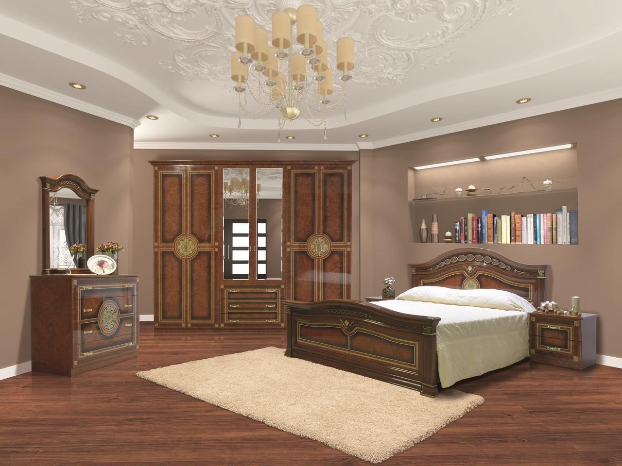 Спальня в классическом стиле с художественной печатью Диана  6Д Світ меблів, цвет пино орех