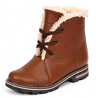 Женские зимние замшевые, кожаные ботинки с подкладкой из шерсти на подошве ТЭП