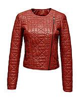 Куртка кожаная Visto Fur стеганная короткая кирпичного цвета
