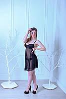 Красивый женский пеньюар с трусиками черного цвета