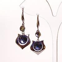 Серьги женские хайтек с серыми кристаллами L-4,5см