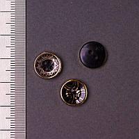 Фурнитура пуговица пластик черный с золотым узором d-12мм