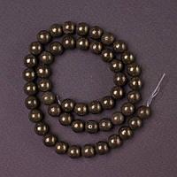 Бусины натуральный камень на нитке Пирит гладкий шарик L-40см d-8мм