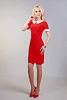 Красное приталенное платье с белым воротником